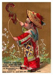 Trade Card Massachusetts Boston  Hall & Stephen Fine bedding, Chinese Child ...