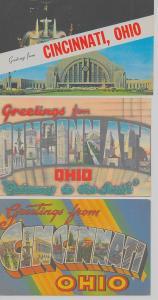 Group of 5 Cincinnati Ohio large letter some linen antique & vintage pc (Z8788)