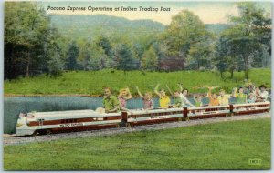 Canadensis PA Postcard INDIAN TRADING POST Pocono Express Miniature Train Linen