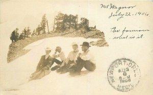 Ashland Oregon Mount Wagner Hiking Group 1906 RPPC Photo Postcard 7751