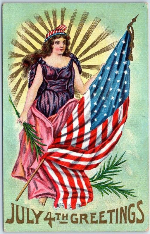 Fourth of July Postcard 4TH OF JULY GREETING Lady Liberty w/ U.S. Flag 1908