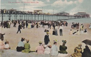 OLD ORCHARD BEACH, Maine, 1900-1910s; Pier And Beach
