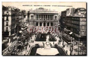 Postcard Marseille Old Square of the Bourse Stock Exchange Garden