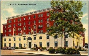 Wilmington, Delaware Postcard YMCA Building Street View Linen c1940s Unused