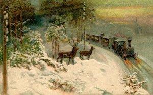 Greeting -   General. Train, Deer      (embossed)