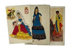 Lot 3 Espagne Brodé Cartes Postales Flamenco Dancer Matador Artiste Signé Rare