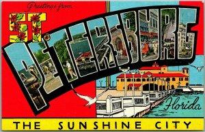 1940s ST PETERSBURG Florida Large Letter Postcard The Sunshine City Kropp Linen