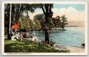 Lake George New York~Diamond Park~Ladies on Waterfront~Rowboats~Pavilion~c1920
