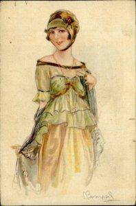 IMV01517 art nouveau fancy woman vintage dress fashion artist signed s bompard