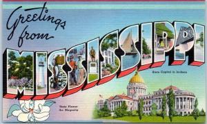 MISSISSIPPI Large Letter Postcard State Capitol & Flower Tichnor Linen c1940s