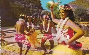 Hawaii Honolulu Tahitian Dancing Troupe Performs Lively Tamure At Polynes Cul...