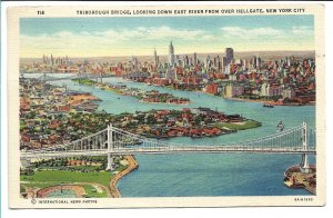 New York, NY - Triborough Bridge looking down East River - 1940