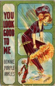 Postcard Valentine Bonnie Purple Ankles You Look Good To Me 1911 Albany NY 1864