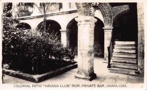 Colonial Patio, Havana Club Rum. Havana Cuba, early postcard, Ad on Back, Unused