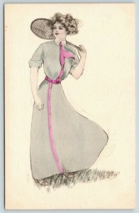 Artist~Lovely Lady Tennis Player~Racket Ready to Serve~Handcolored~1910 Postcard