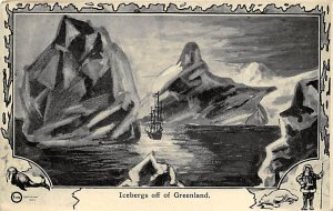 Exploration Post Card Icebergs off of Greenland 1910