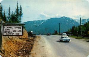 Lookout Pass, Highway 10, ID, over Bitterroot Mts., Vintage Postcard e6202