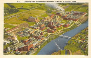Airplane View of Tennessee Eastman Company, Kingsport, TN ca 1940s Postcard