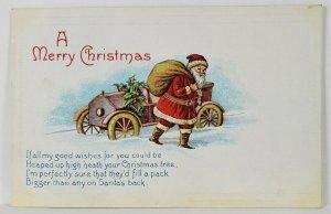 Christmas Greetings Santa His Sack and A Car Postcard R15