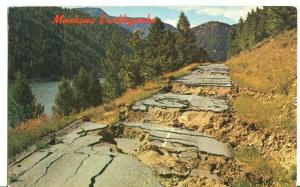 Montana 1959 Earthquake Highway 287 Damage unused Postcard