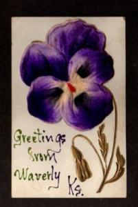 KS Greetings from WAVERLY KANSAS Postcard Velvet ? PC