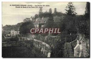 Old Postcard Montfort L & # 39Amaury The Compound Path and round towers