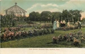 Hartford Connecticut~Garderner Tending Rose Garden in Elizabeth Park 1905