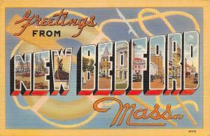 New Bedford Massachusetts~Large Letter Linen Postcard~Life Preserver~Oar~Spear