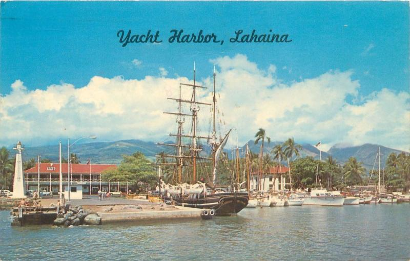MAUI HAWAII LAHAINA YACHT HARBOR WITH BARK CARTHAGINIAN (NOW SUNK) POSTCARD 1967