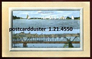 4550 - KENORA Ontario Postcard 1910s Bridge. Yachting by Wood's Drugstore