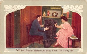 Stay Home & Play When You Marry Me 1912 Romantic Postcard Ada Oklahoma