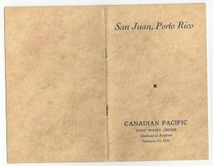CANADIAN PACIFIC, Duchess of Bedford, Porto Rico Excursion, Booklet, 2/11/1931