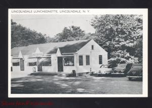 LINCOLNDALE NEW YORK LUNCHEONETTE 1950's CARS RESTAURANT VINTAGE POSTCARD NY