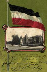germany, KREFELD, Bismarck Platz, Flag Postcard (1901)