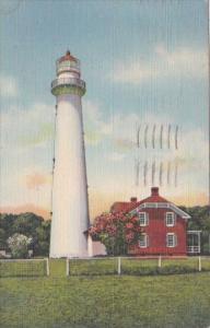 Lighthouse On St Simons Island Georgia 1943 Curteich