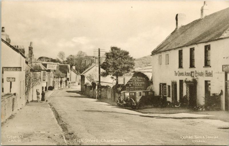 High Street Charmouth Dorset UK Queen's Armes Hotel George TUCK's Postcard E15
