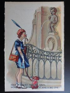 Manneken PIS: Women & Dog WONDERFUL..I THOUGHT IT WAS A BIG ONE! Old Postcard