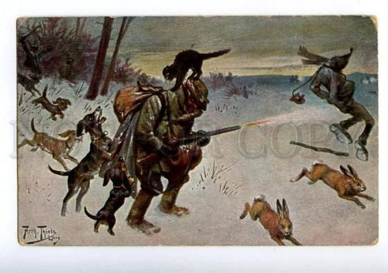 156455 Comic HUNT Hare DACHSHUND Cat HUNTER by THIELE vintage