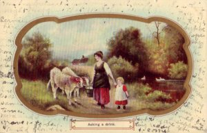 ASKING A DRINK calves near woman and child with bucket of water 1910 embossed
