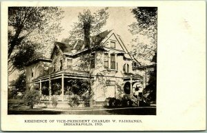 c1900s Indianapolis Postcard Residence of Vice-President Charles Fairbanks