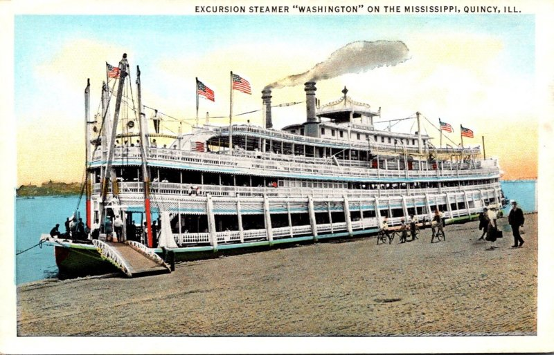 Illinois Quncy Excursion Steamer Washington On The Mississippi River