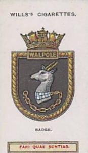 Wills Vintage Cigarette Card Ships Badges No. 35 Walpole 1925