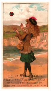 Girl playing Catch   Victorian Trade Card