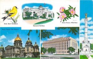 Iowa~State Bird-Flower-Capitol-Soldiers & Sailors Civil War Monument~Postcard