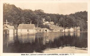 Alton Bay NH 2nd Adventist Christian Campground @ Back Bay~Boathouses~RPPC 1920s