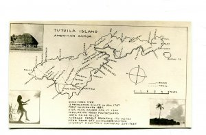 Vintage Postcard RPPC AMERICAN SAMOA TUTUILA ISLAND MAP