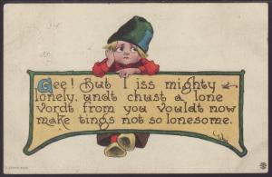 But I Iss Mighty Lonely...,Dutch Boy,Comic Postcard
