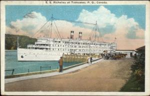 Steamship Ship SS Richelieu at Tadoussac Quebec c1920s Postcard