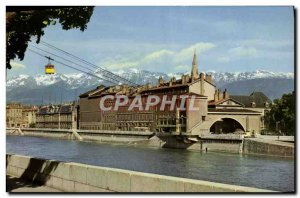Modern Postcard Grenoble Quays L & # 39Isere the cable car to the Bastille an...