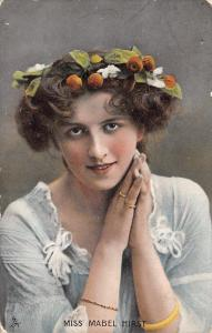 Miss Mabel Hirst~Fruit Hat~TUCK Celebrities of the Stage~Actress~1905 Postcard